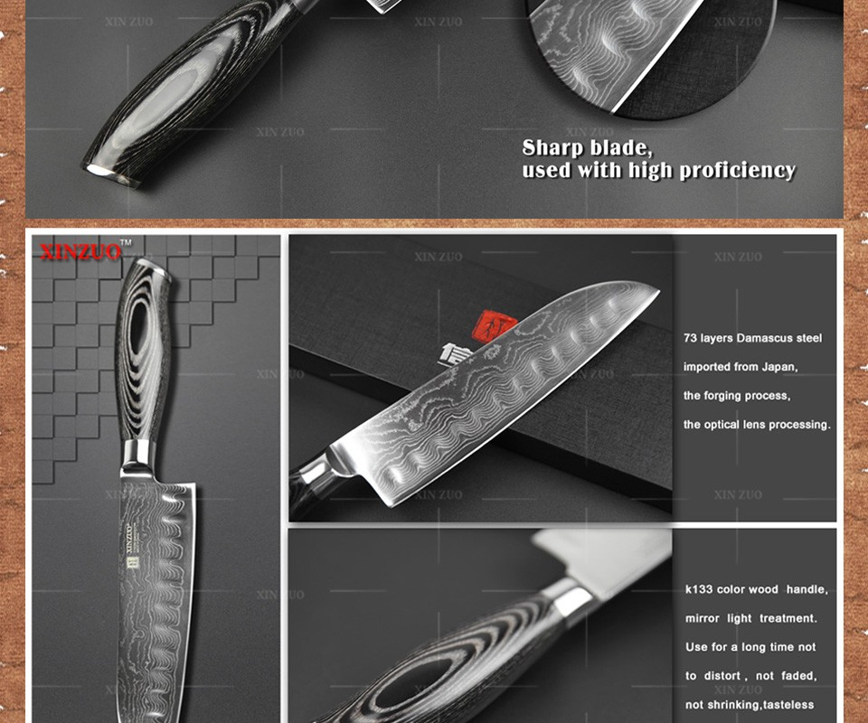"Buy 2016 NEW 7""inch Japan chef knife 73 layers Damascus kitchen knife sharp meat santoku knife witn Color wood handle free shipping cheap"