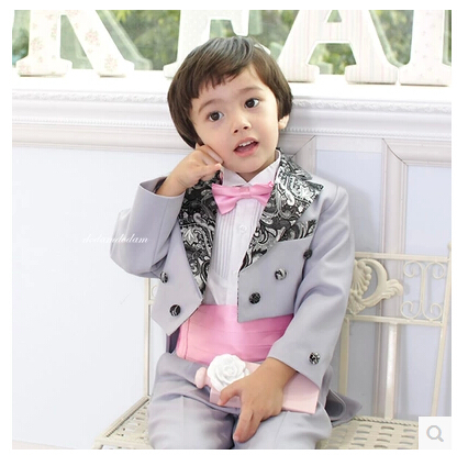 2015 rushed fashion kids baby boys blazers suits formal tuxedo clothing prom party wedding costume child outfit flower boy dress(China (Mainland))