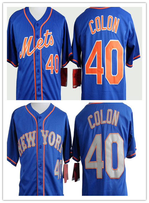 40 Bartolo Colon Baseball Jerseys New York Mets Team Clor Blue With Grey New Stitched,Accept Mix Order,New Arrival(China (Mainland))