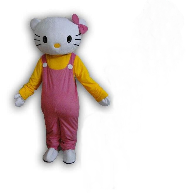High quality of Hello Kitty Mascot Costume cat Mascot costume, Terms head, No cardboard Free shipping(China (Mainland))