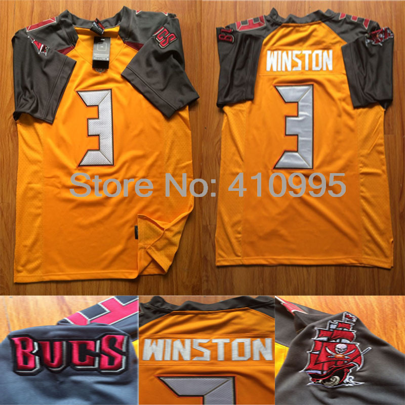 3 Jameis Winston Tampa Bay 2015 American Football Jersey Orange Game Jerseys Free Shipping Rugby Sports Shirt Top Quality Cheap(China (Mainland))