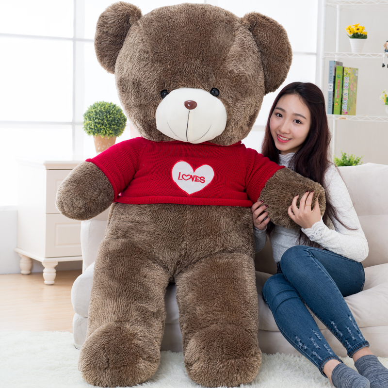 big plush round eyes red love sweater teddy bear toy huge bear doll gift about 160cm(China (Mainland))