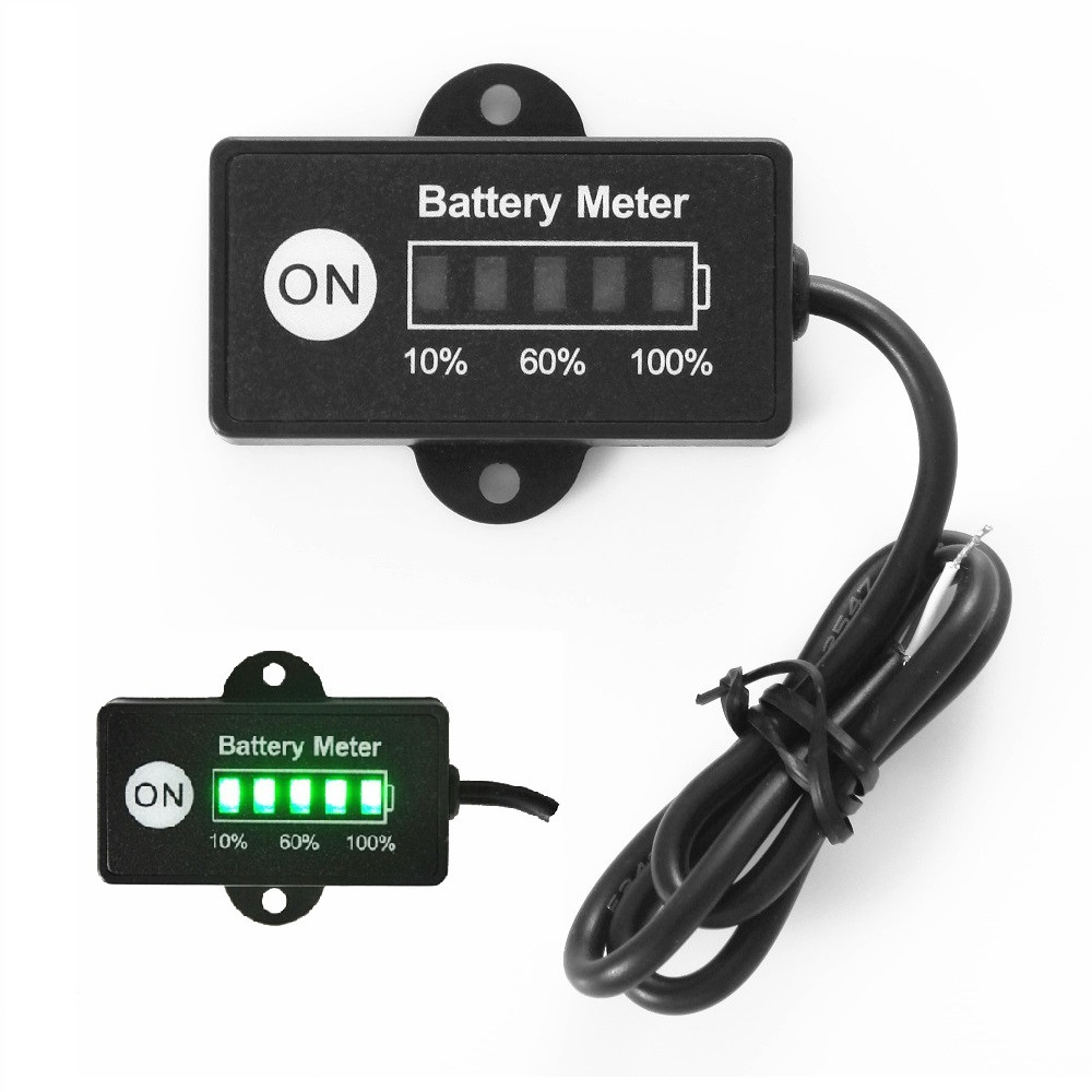12 Volt  Mini Battery Gauge 5LED battery meter indicator for CAR motorcycle golf carts<br><br>Aliexpress