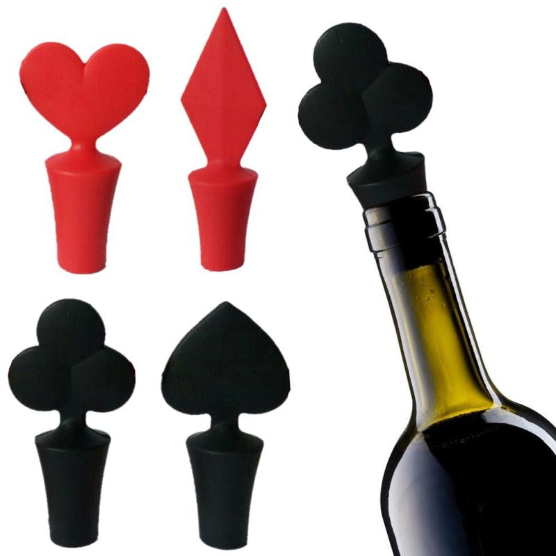 1 PCS Mini Novelty Poker Wine Stopper Heart Shape Fun Wine Bottle Plug Gifts Glass Decor Bar Tools Red and Black L50(China (Mainland))