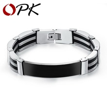OPK Black/White Silicone Man Bracelets Fashion Stainless Steel Link Chain Vintage Men Jewelry Allergy Free Accessories PH936(China (Mainland))