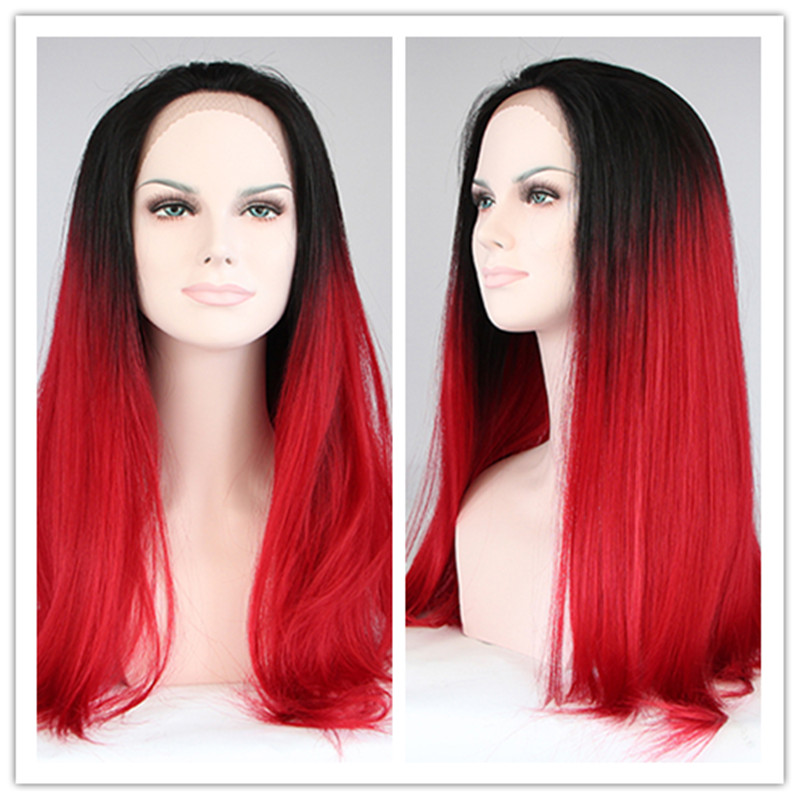 2016 Heat Resistant Wigs for Sale 2 Tones Black to Red Ombre Silk Straight Synthetic Lace Front Wigs for Women(China (Mainland))