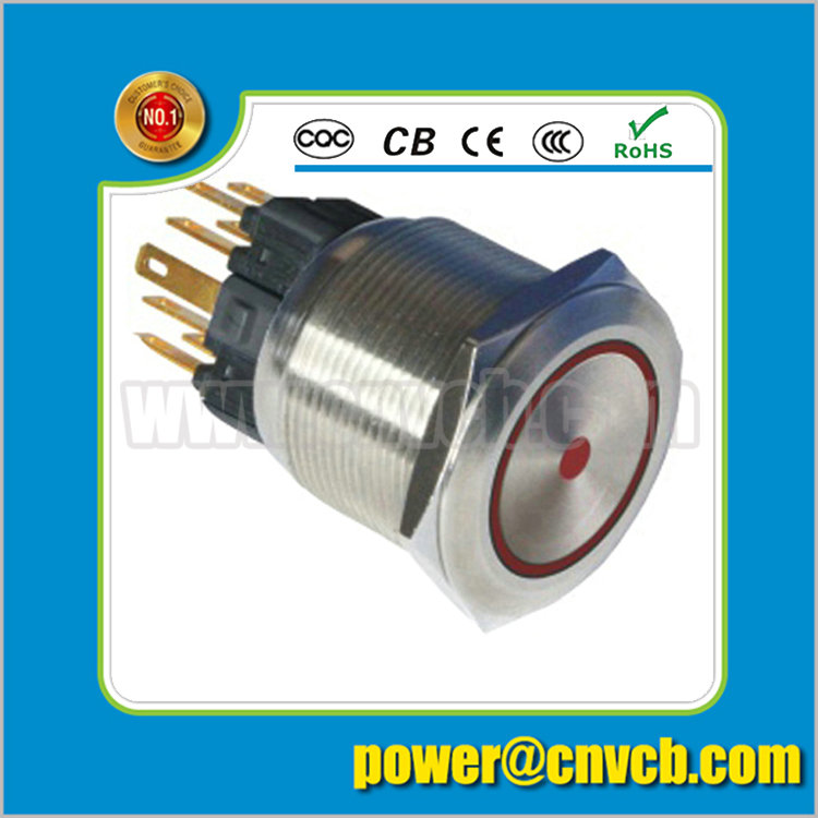 2505Z 25mm Ring lamp brass doorbell 24VDC red led latching metal push button switch(China (Mainland))