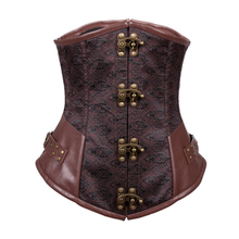 New 2015 Sexy Brown Buckle-up Steampunk Corset Women's Corselet Bustier Underwear Gothic Plus Size Waist Training Corset S-XXL