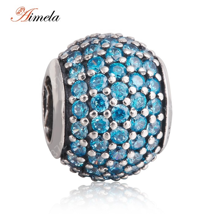 2014 new 925 sterling silver pave blue crystal ball charms for women bracelets jewelry making best gift Er299<br><br>Aliexpress