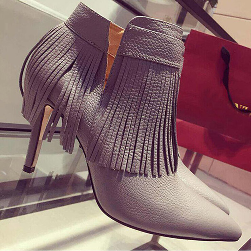 Solid Color Pointy Western Side Zip Euro Style Faux Fur Rubber Women Wine Glass Ankle Boots With Fringes Thin High Heels Tassel(China (Mainland))