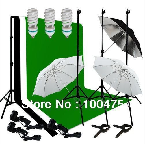 [1.5*3M Backdrop Cloth]Photography 3 Light Bulb Lighting 3 Muslin Background 1 Backdrop Stand Support Photo Studio Kit<br><br>Aliexpress
