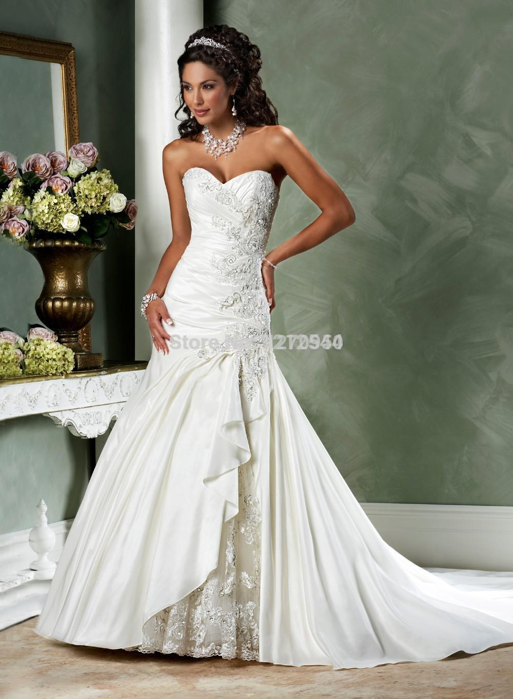 Sexy Strapless Sweetheart Lace Embroidery Open Back Satin ...