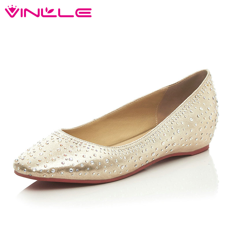 VINLLE Silver Fashion Ladies Shoes PU Leather Round Toe Flat Heel Princess Style Rhinestone Woman Wedding Shoes Size 34-39<br><br>Aliexpress