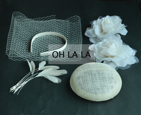 IVORY 2pcs silk flower+14cm sinamay base +1 Meter bridcage veilling+1.3cm Satin headband+10pcs feathers DIY FASCINATOR Hat.(China (Mainland))
