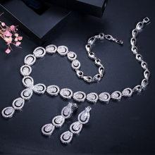 CWWZircons Micro Pflastern Zirkonia Luxus Dubai Gold Farbe Schmuck Sets für Frauen Hochzeit Party Braut Kostüm Schmuck T101(China)