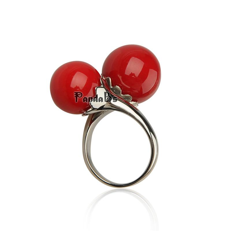 316 Stainless Steel Shell Pearl Rings, Round, Red, 16~19mm<br><br>Aliexpress
