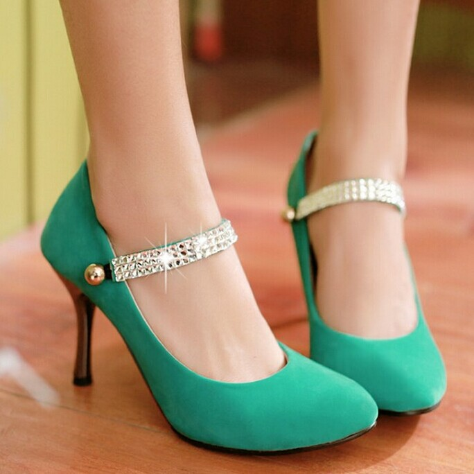 Pointy toe stilettos woman fashion beaded diamond wedding Party high heels Mary Jane pumps