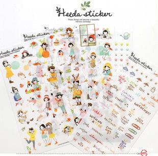 6Set Korean Sweet Girl Style Creative DIY Diary Phone Tape Atr Decoration Scrapbook Calendar Notebook Label Transparent Stickers(China (Mainland))