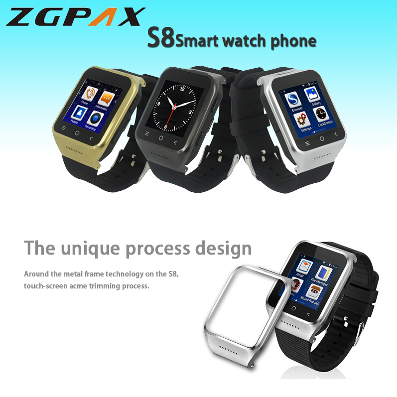 ZGPAX S8 1.54'' Touch Screen Android 4.4.2 3G Bluetooth Smart Watch Phone MTK6572 Dual Core 1.2GHz RAM 512MB ROM 4GB WCDMA & GSM(China (Mainland))