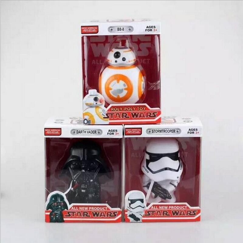 Original Box Star Wars Figures BB8 Darth Vader Stormtrooper Bobblehead Action Figure 10cm PVC Model Children Baby Kids Toys(China (Mainland))
