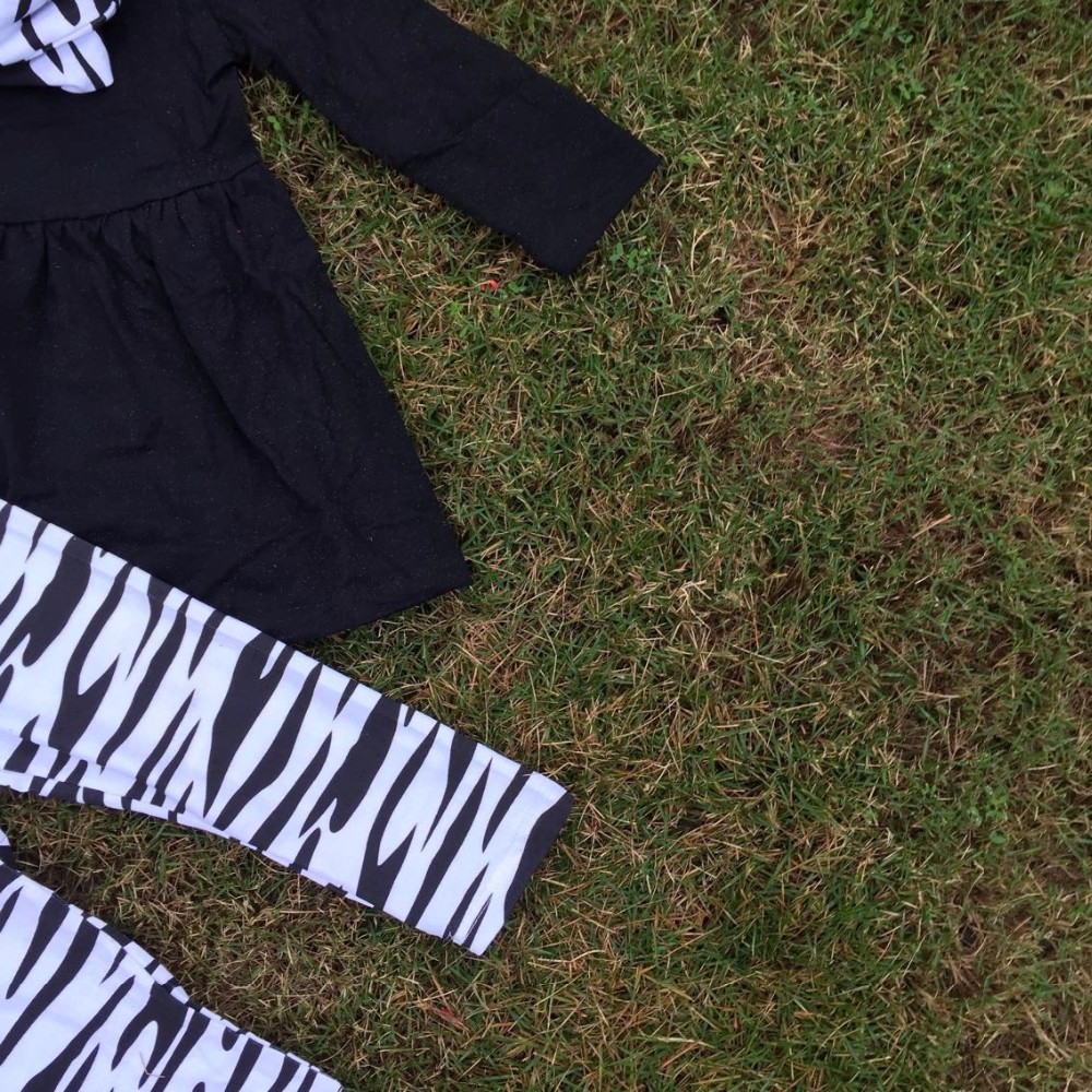 winter design baby kids wear Zebra print Girl kids clothing toddler girl clothing hot baby black top pant scarf girls set