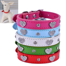 Buy Pu Leather Rhinestone Dog Collar Bling Crystal Studded Collars Adjustable Pet Neck Strap Small Dogs Size S/M for $2.72 in AliExpress store