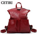 Mochilas Mujer 2017 PU Leather Mochila Escolar School Bags Teenagers Girls Large Student Package Red Big