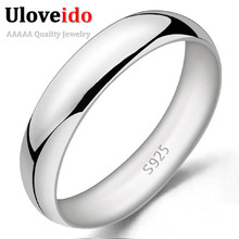 Unisex Rings for Men Women Fashion Silver Anel Masculino Smooth Wedding Anillo Ring Bijoux Bague Homme Jewelry 2016 Ulove J017(China (Mainland))
