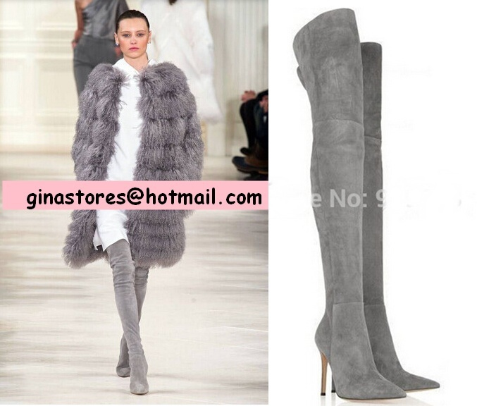 Thigh High Grey Boots - Cr Boot