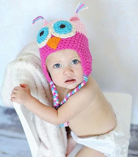 Handmade Winter Cute Night Owl Woolen Cap Hats knitting hat For Halloween Birthday Christmas Baby Head Decoration(China (Mainland))