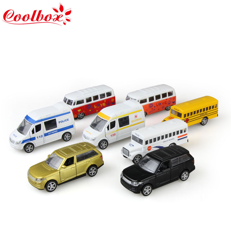 Coolbox 8 types Alloy Emulational Car Model Toys Classic School Bus Miniature Pull Back Cars Doors can be opened For boys(China (Mainland))