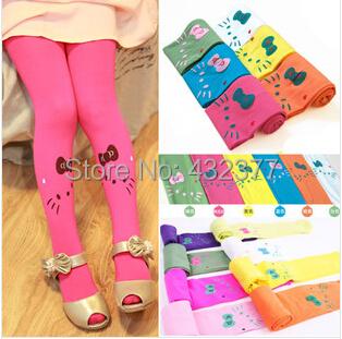 Free shipping new 2015 Baby girl child kids female pantyhose stocking velvet hello kitty cat dance legging 11 colors(China (Mainland))