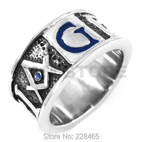 Free Shipping! Blue G Crystal Masonic Ring Stainless Steel Jewelry GEOMETRI Carve Word Freemasonry Motor Biker Men Ring SWR0358A(China (Mainland))