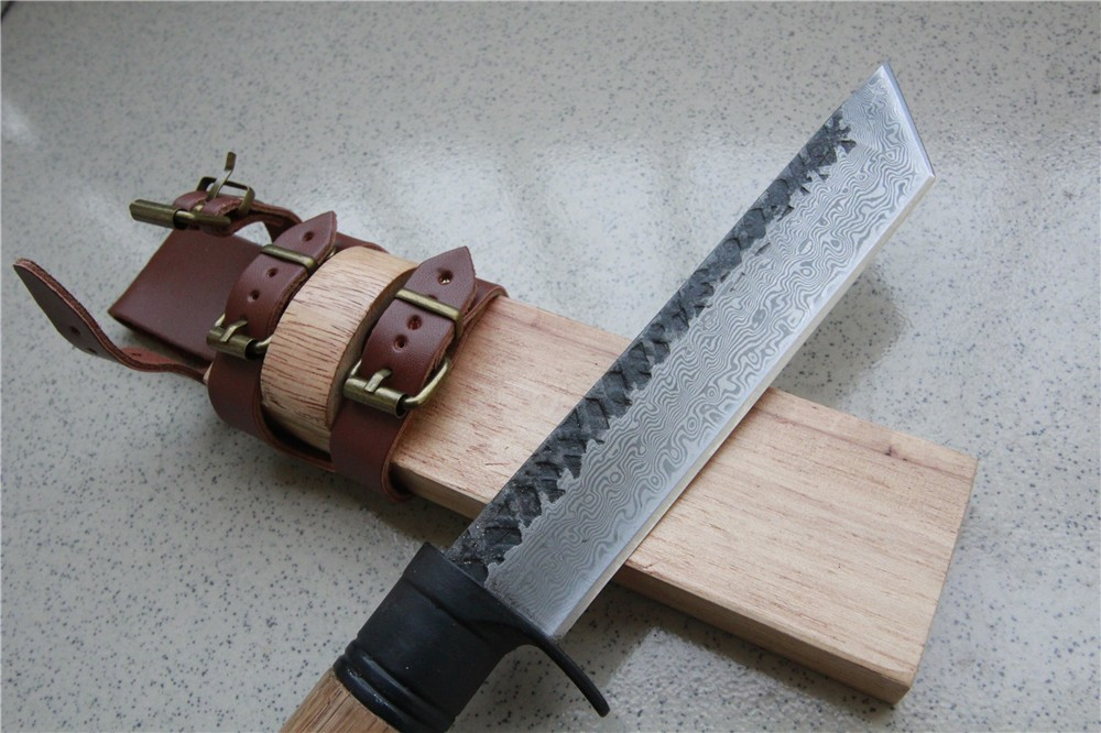 Damascus steel hunting knife wood handle wood sheath can wear outdoor forest machete carpentry knife camping survival lightweigh