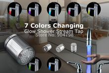 1 pz 7 colori rgb colorato led light water shower spruzzare testa rubinetto del bagno yks(China (Mainland))