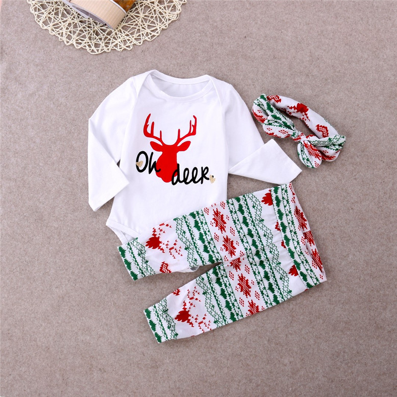 Chidlren Xmas Rompers 2016 Baby Girls Christmas 3PCS  Clothes Set Long Sleeve Romper Cotton Pants Headband