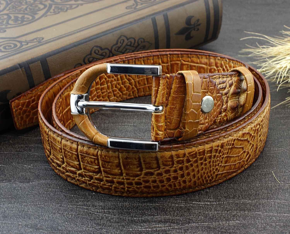 High Quality Vintage Crocodile Texture Tan Color Real Leather Mens Belt(China (Mainland))