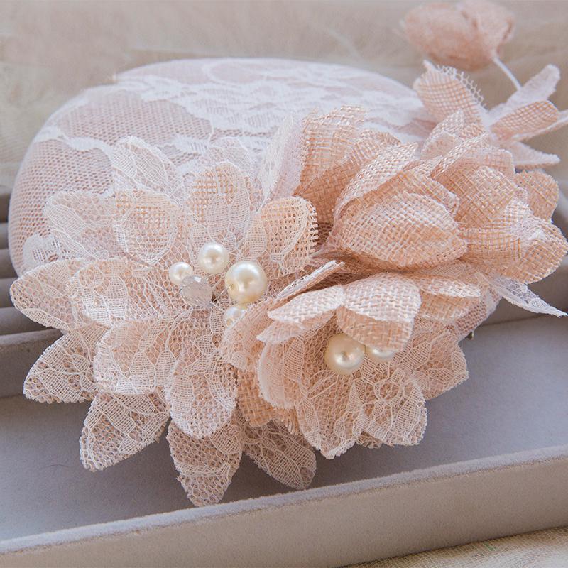 Mandy 2017 Wedding Hats Cut Edge Beaded Artificial Pearls Crystal Crocheted Appliqued Blossom Manual Cutting Linen Bridal Hats