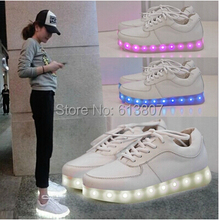 Free shipping counters authentic glow shoes luminous USB rechargeable LED lights couples men's and women's casual shoes(China (Mainland))