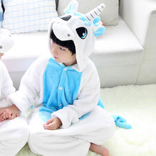 Yeni çocuk hayvanlı pijama Kış sıcak Kız Erkek Çocuklar Pijama Karikatür unicorn Dikiş Panda Cosplay onesie Kapşonlu Sevimli Pijama(China)