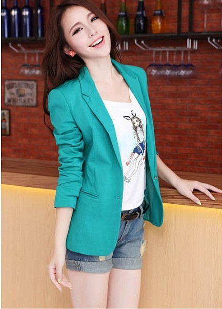2014 Spring Autumn Women's  Fashion Slim Blazer Outerwear Candy Color One Button Ladies Jacket  Blue Rose Yellow Black