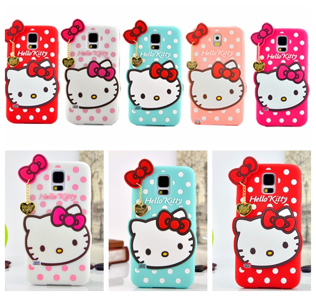 Hello Kitty New Design With White Dots Bow Rubber Silicone Case Soft Cover For Samsung Galaxy S5 SV I9600(China (Mainland))
