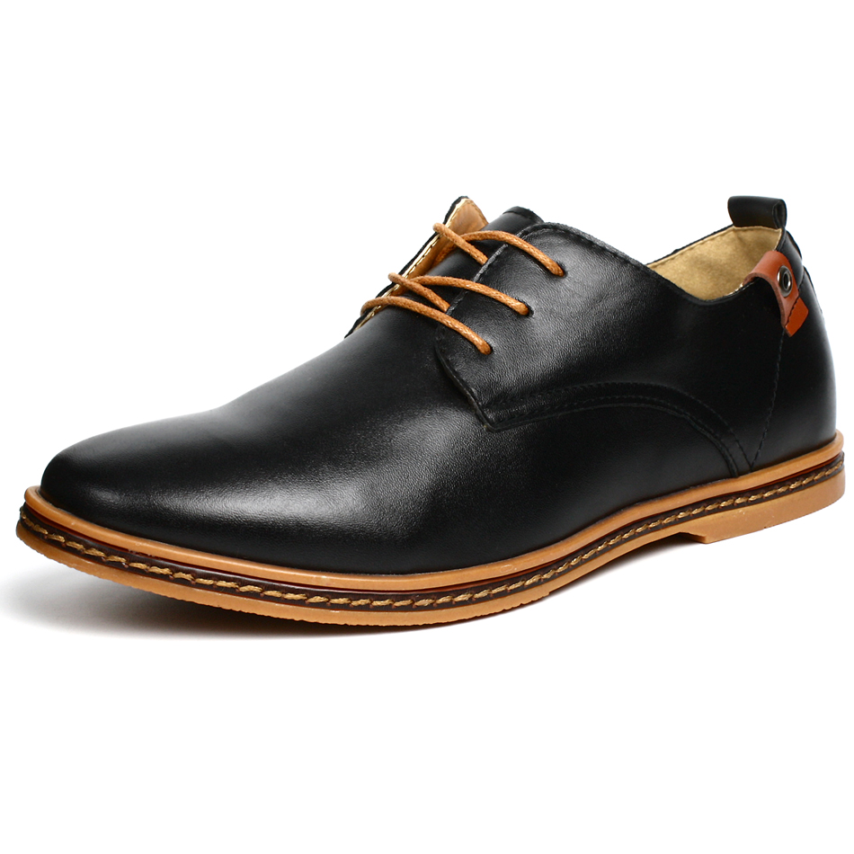 Fashion Spring Autumn Mens Casual Shoes PU Leather Lace-up Man Shoe Work Flats High Top Sapatos Masculino Male Big Size Black(China (Mainland))