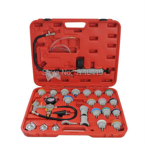 26Pc Comprehensive Cooling System Radiator With Color Cap Vacuum Pump Gauge Adapter Pressure Leak Tester Diagnostic Tool Set<br><br>Aliexpress