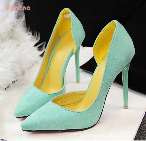 Hot Vintage Sexy Red Bottom Pointed Toe High Heels Women Pumps Shoes 2015 Brand New Design Less Platform Pumps 7 colors(China (Mainland))