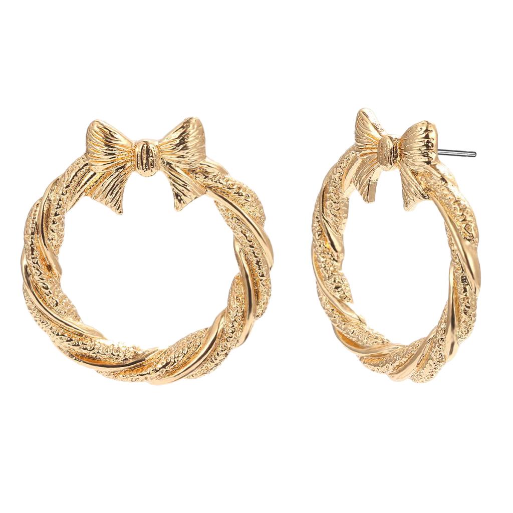 1 Pair Big Hoop Earrings Round with Bowknot Earrings Metal Clip On Earrings Jewelry for Women Girls Hypoallergenic Studs