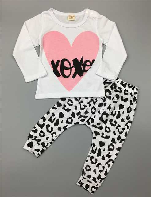 Cute baby girl clothes casual cotton pink heart long sleeve t-shirt + pants infant 2pcs suit baby girls clothing sets