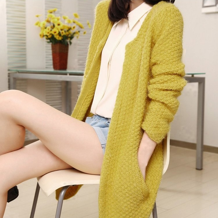 2015 new style women sweater contracted commuter long loose cardigan coat mohair sweaters female - Top Boutique Fashion Mall store