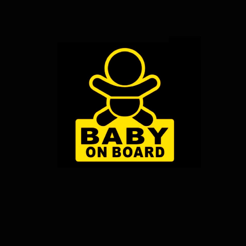 Baby On Board / Vinyl Car Window Decal Sticker / Reflective Yellow(China (Mainland))