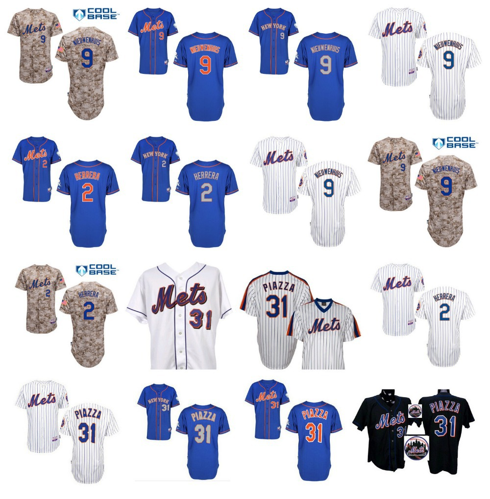 2015 New York Mets Jerseys Men's 31 Mike Piazza Jersey 2 Dilson Herrera 9 Kirk Nieuwenhuis Cheap Baseball Sports Shirt